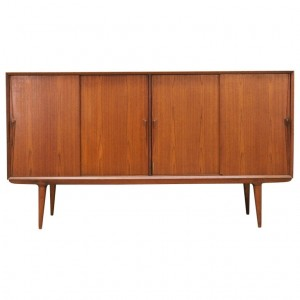 Highboard tekowy, duński design, lata 70, porducent: Omann Jun